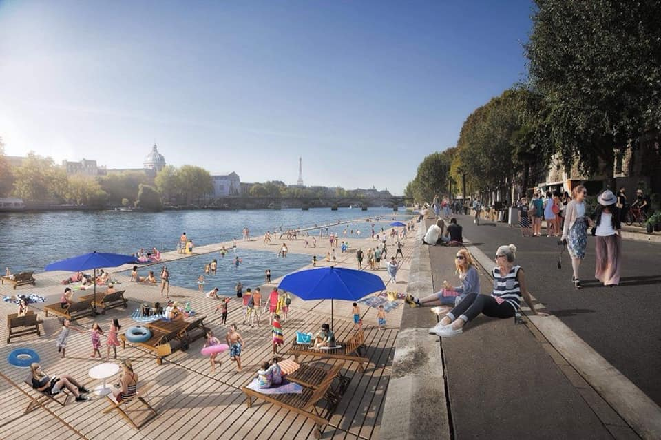 The proposed future pools in the Seine. / Les futures piscines proposées dans la Seine. / Mogelijke toekomstige zwembaden in de Seine.  © APUR-LUXIGON