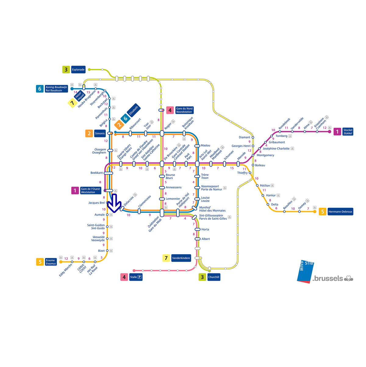 Accessible with public transport, served by all metro lines. / Accessible par les transports en commun, desservi par toutes les lignes de métro. / Toegankelijk met het openbaar vervoer, bediend door alle metrolijnen.