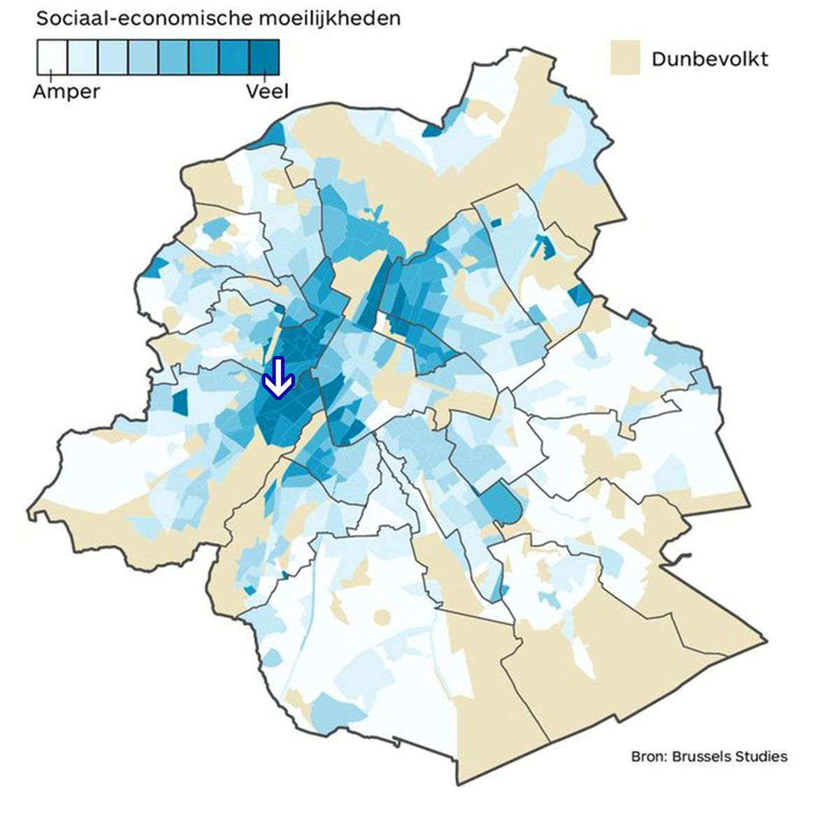 Location amidst a neighborhood with social-economical challenges. / Situation au milieu d'un quartier avec des défis socio-économiques. / Ligging te midden van een buurt met sociaaleconomische moeilijkheden.