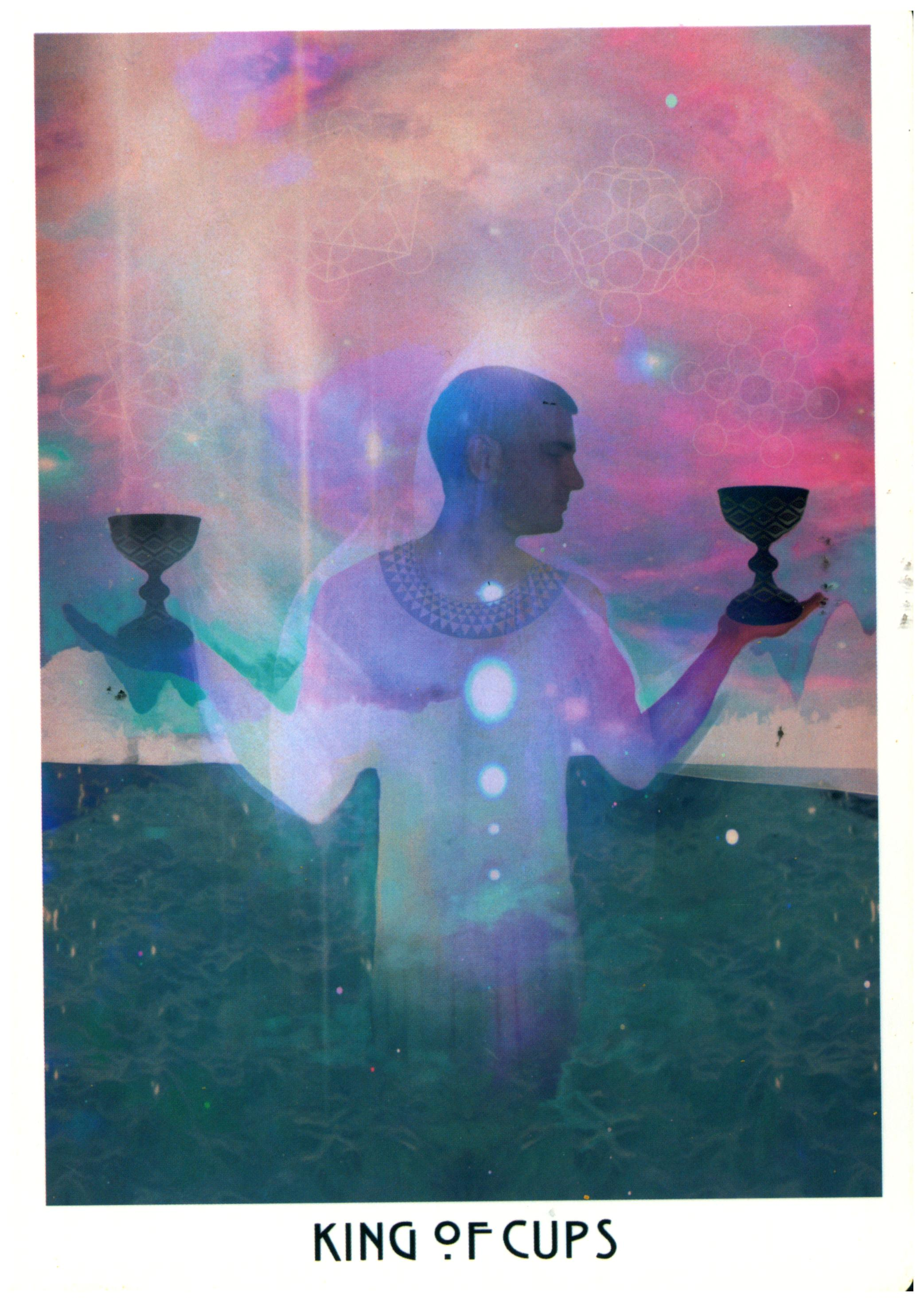 """Message: Get sovereign over your feels. - The Cups speak to matters of the heart: relationships, creativity, & soulful feelings. Cups also deal in visions & artistic expression.What you can learn from the King of Cups: the King feels deeply, but never forgets that his feelings are only information. The King of Cups epitomizes emotional maturity, which is the same as saying that he is sovereign over his feelings. I've written before about the rules of Sovereignty, which includes tips for getting perspective on how your feelings manipulate your response to life.If indicating a person, the King of Cups is likely an endearing older gentleman full of affection & psychic wisdom. He personifies the saying """"still waters run deep"""" & probably quotes Seneca or Marcus Aurelius on the daily. He might be that aging bachelor uncle who never quite moved on from the Summer of Love, & is acutely aware of it--which makes him seem like a living embodiment to Living Your Truth. No matter the topic of your interaction with him (current events, relationship drama, the best place to score a cup of world true fair trade coffee), you grow wiser by transmission. If this sounds like someone you already know, make plans with them this week!"""