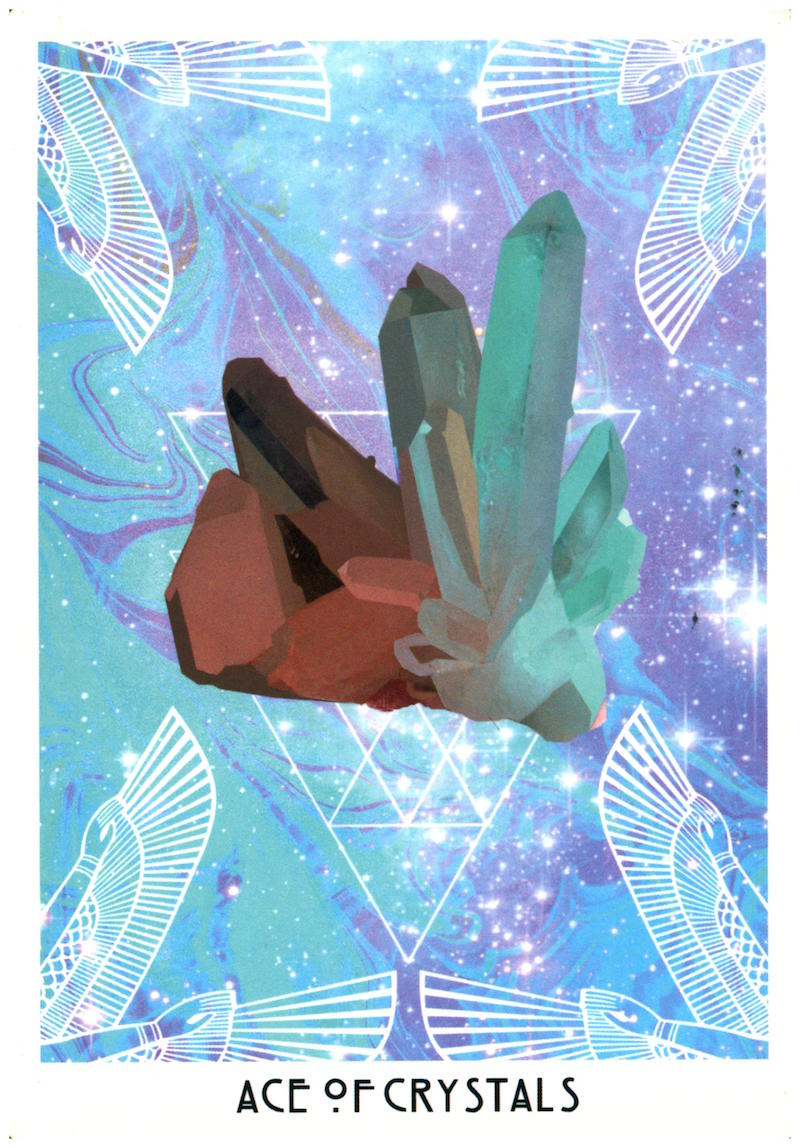 Message: Take inventory of your tools & resources. - Aces are new beginnings & messages. The Crystals suit speaks to practical concerns of our lives: possessions, pleasures, & professionalism. This is the material environment you've formed or are forming. This card could mean that a new tool or resource will become available to you--perhaps you will earn it or will finally find the money to get it.Combined with the 4 of Wands & The Emperor, you're encouraged to put into motion the events that will create the experiences you need to build the foundation for your dreams.