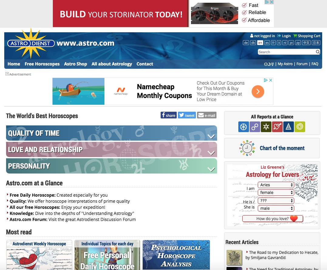 #1 Type astro.com into your browser. -