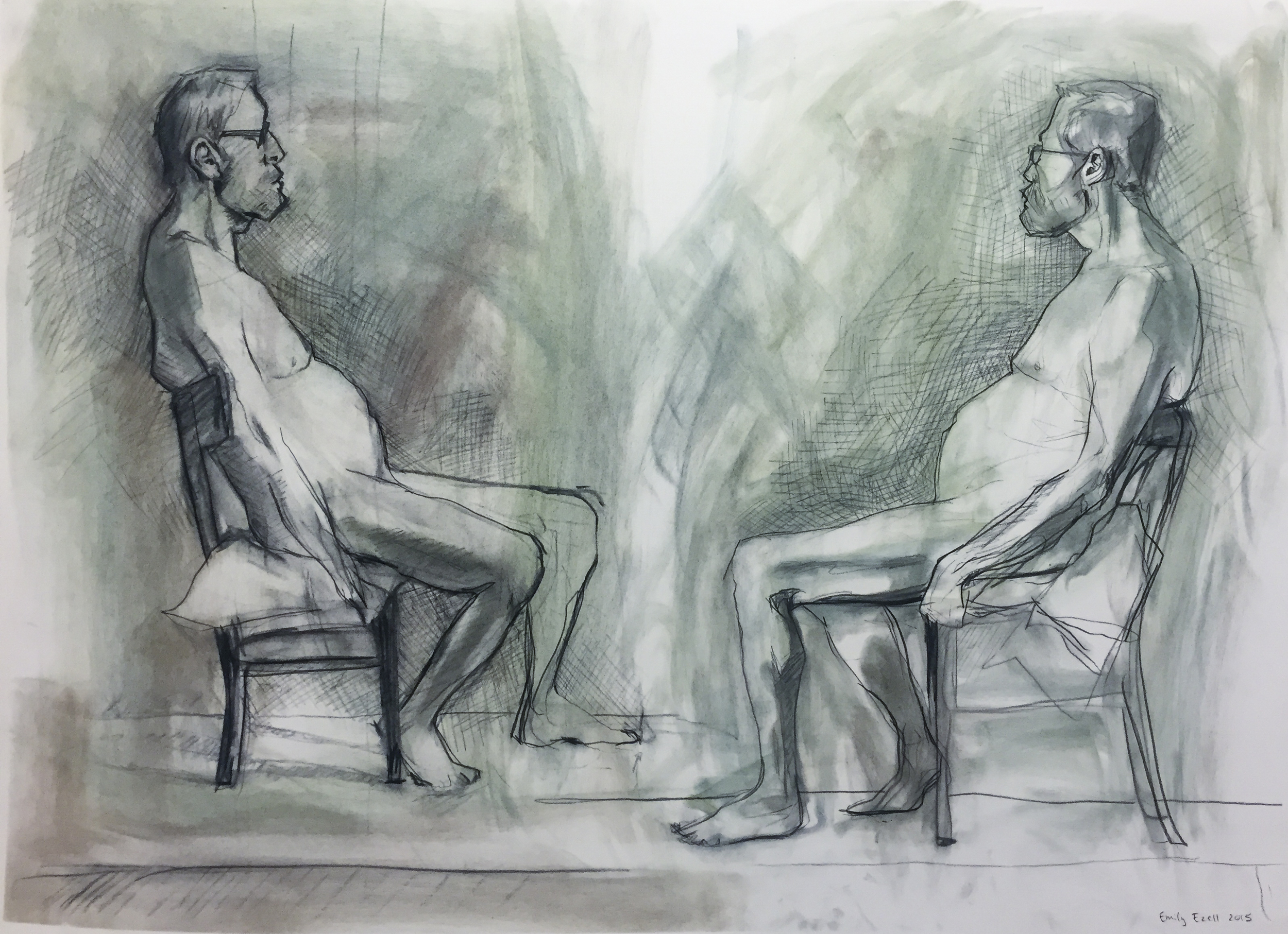 Mirror Figures, 2015, 30 x 22 charcoal on paper