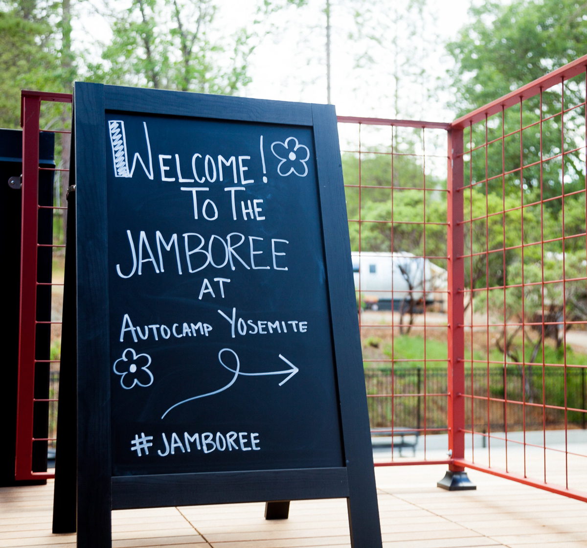 Welcome sign for our AutoCamp JAMboree in Yosemite.