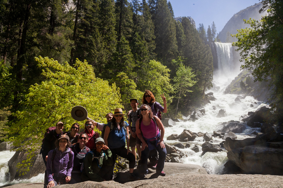 Obligatory group shot below the falls on the Mist Trail.