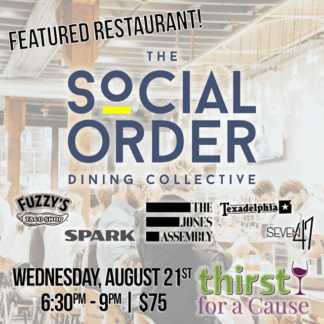 2019 FEATURED RESTAURANT: The Social Order Dining Collective! Home of The Jones Assembly, Fuzzy's, Texadelphia & more, @socialorderdiningcollective is passionate about combining a unique & delicious menu with outstanding service.⁠ .⁠ [11th Annual Thirst for a Cause]⁠ THIS Wednesday, August 21st⁠ 6:30pm - 9:00pm⁠ .⁠ $75 in advance | $89 at the door (if available)⁠ 21+ | www.thirstforacause.com⁠ ⁠ .⁠ .⁠ .⁠ .⁠ .⁠ .⁠ .⁠ .⁠ .⁠ .⁠ #thirstforacause #haciendatacos #okrestaurants #thirstwine #thirstday2019  #winetasting #winelover #winewednesday #oklahomalife #okcfoodie⁠ ⁠