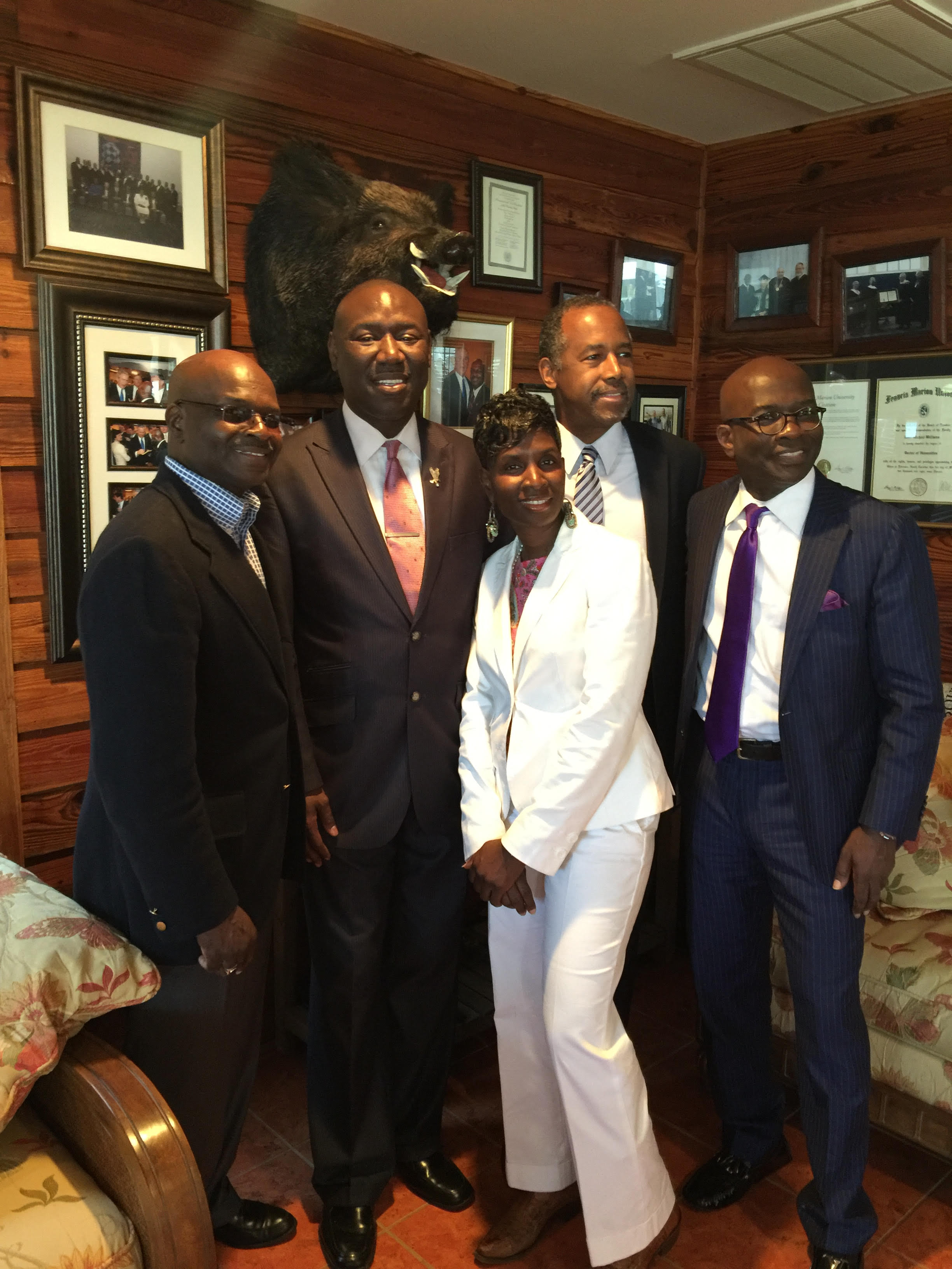 (From left to right:) Senator Kent Williams, Civil Rights Attorney Benjamin Crump, Mary Williams-Taylor, Renowned Pediatric Neurosurgeon Dr. Ben Carson, and Armstrong Williams