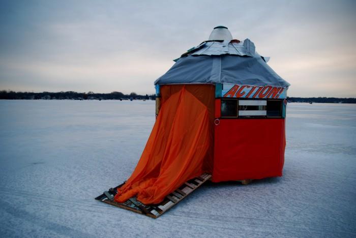 The Soft Shop (exterior), Art Shanty Projects, Medicine Lake, MN  2007  (with Rebecca Mir Grady, Aay Preston-Myint, Ilana Percher)