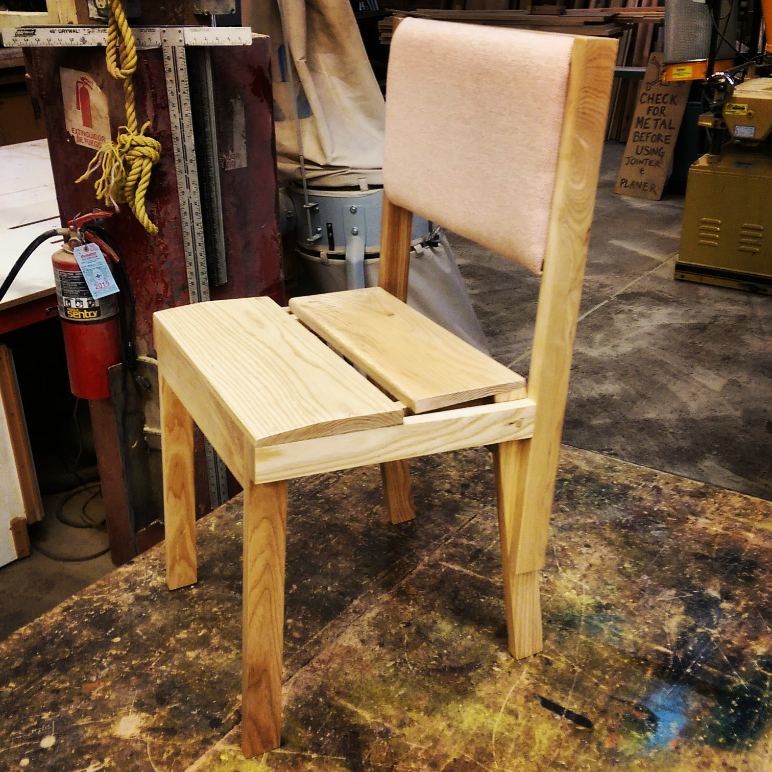 Provisional Chair, final prototype with upholstered backrest and ash frame and seat.