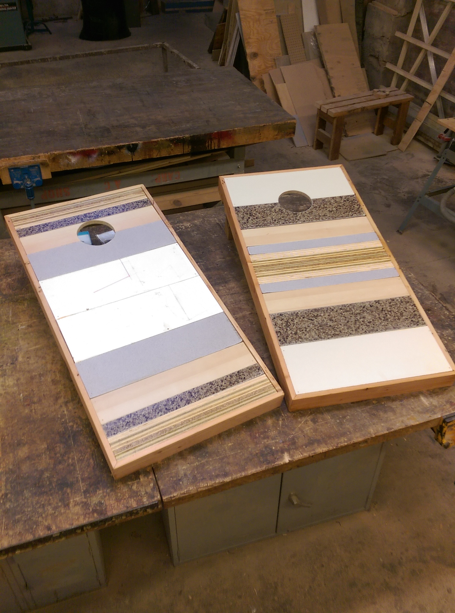 """engineered sheet goods beige rainbow"" cornhole sets made for 2017 THAWALLS"