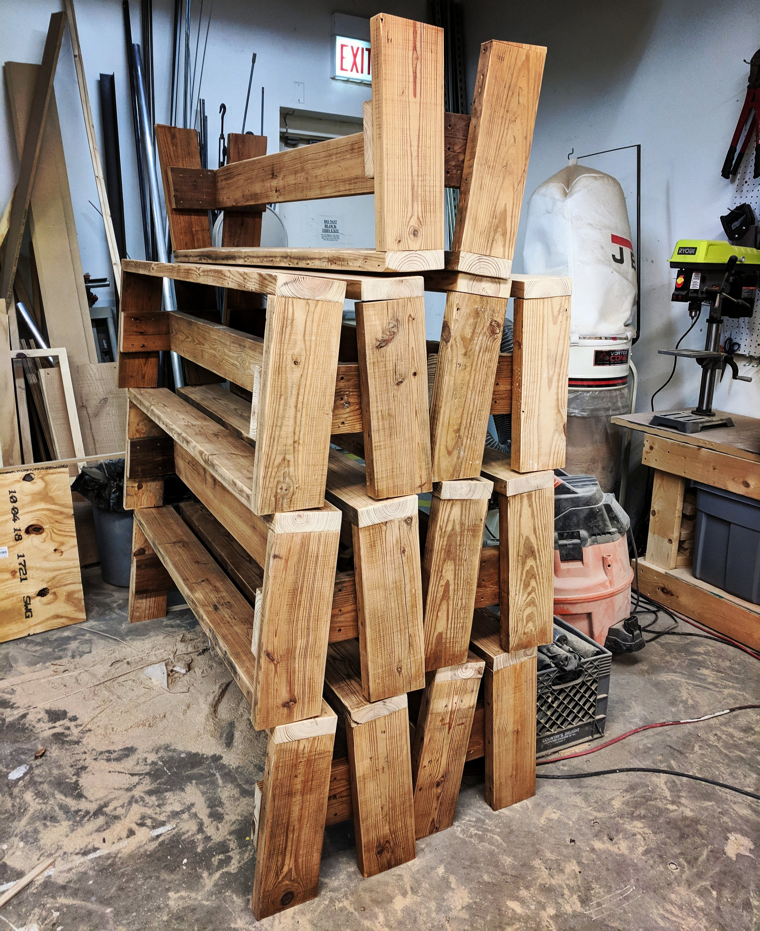 "A stack of the ""split benches"" for Middle Brow in progress"