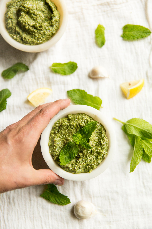 plating mint pesto
