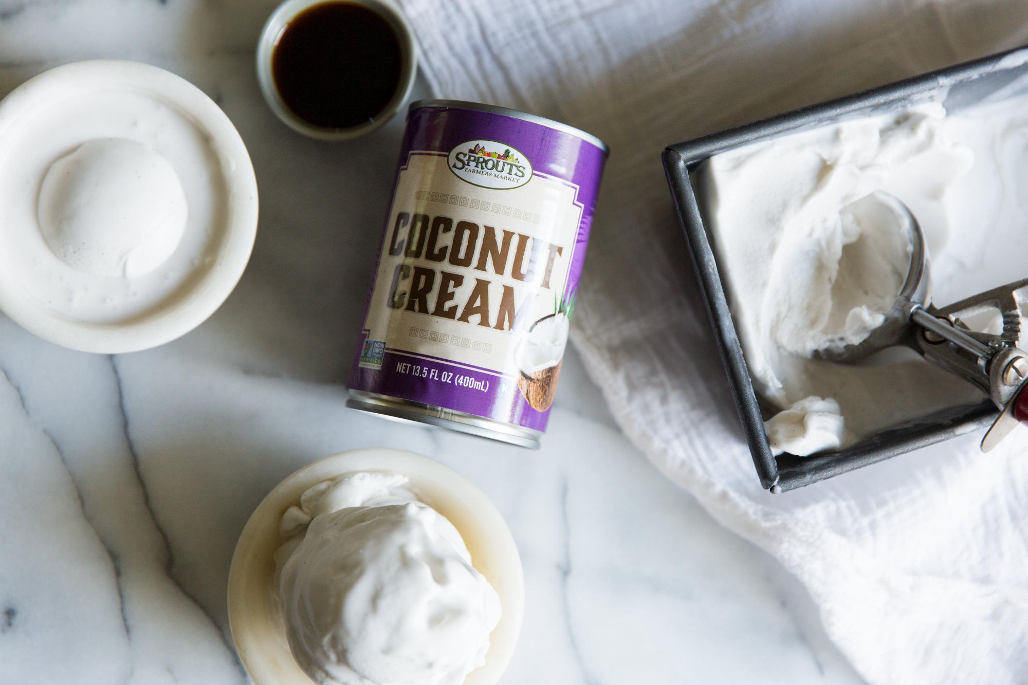 Vegan Ice-cream with Sprouts Coconut Cream