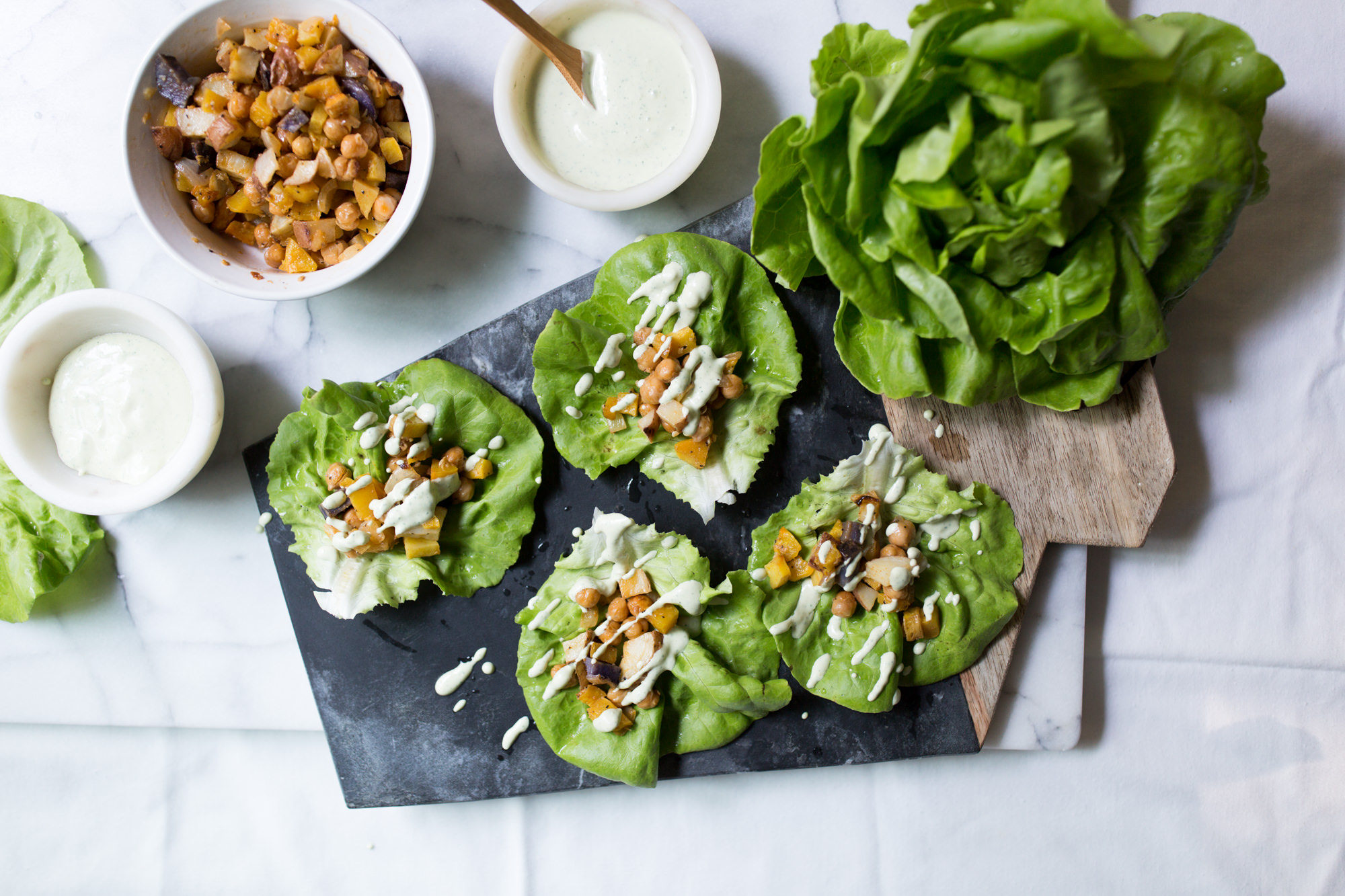 Roasted Veggie Wraps With Herbed Tahini