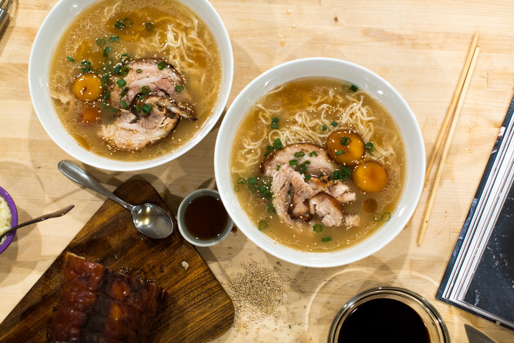 Homemade tonkotsu ramen bowls