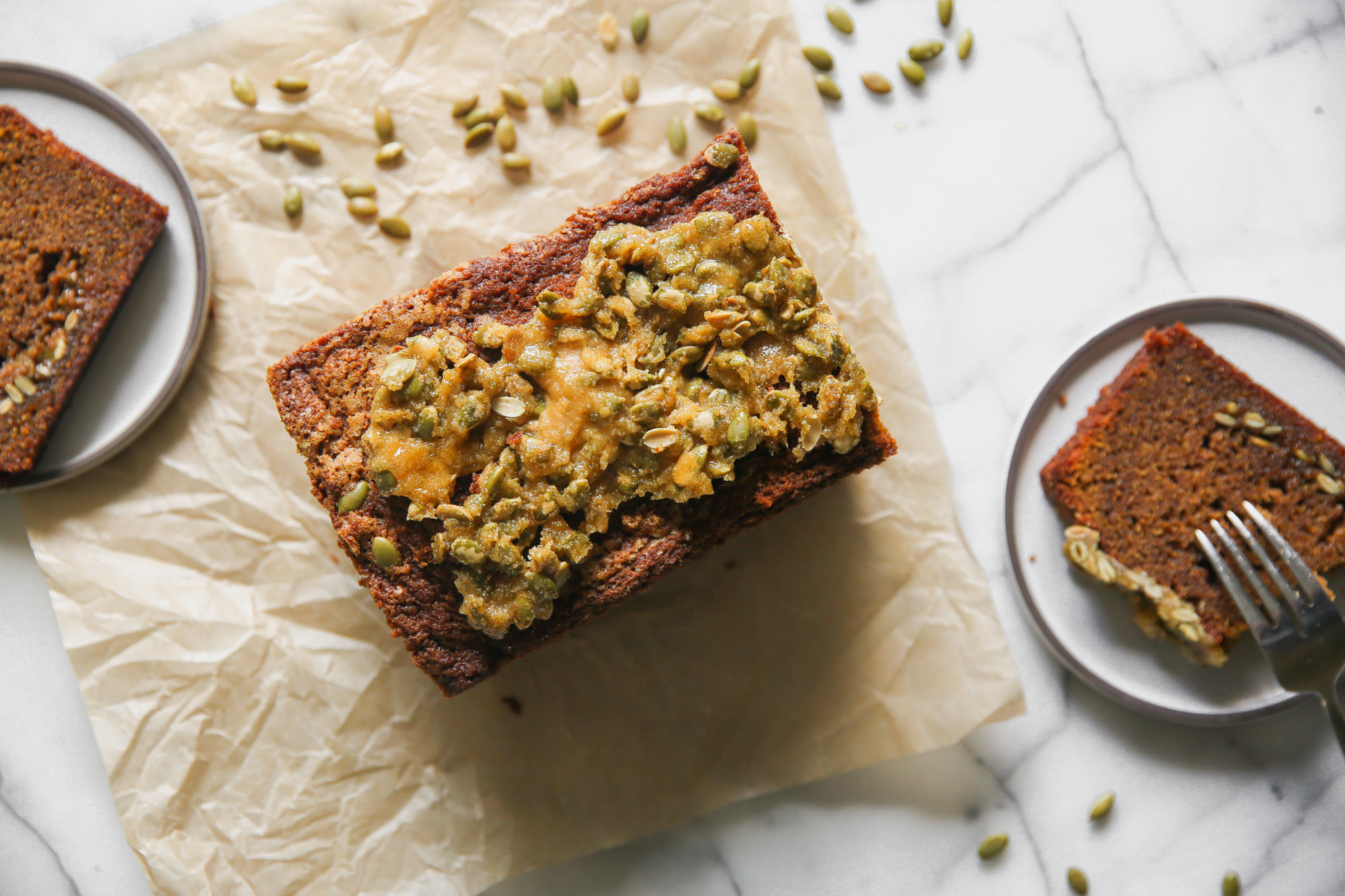 Pumpkin Bread With Pepitas On Top