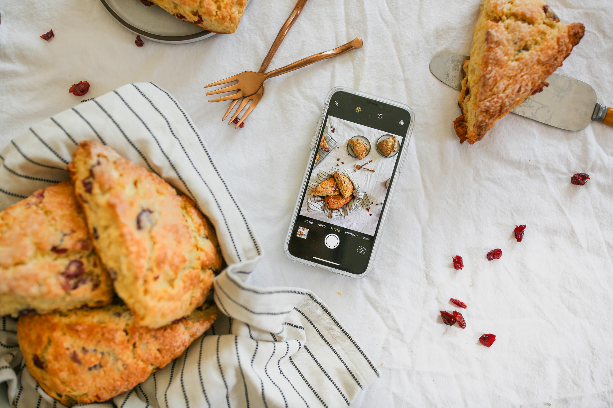 Taking an iPhone Photo of Buttermilk Scones With Raisins