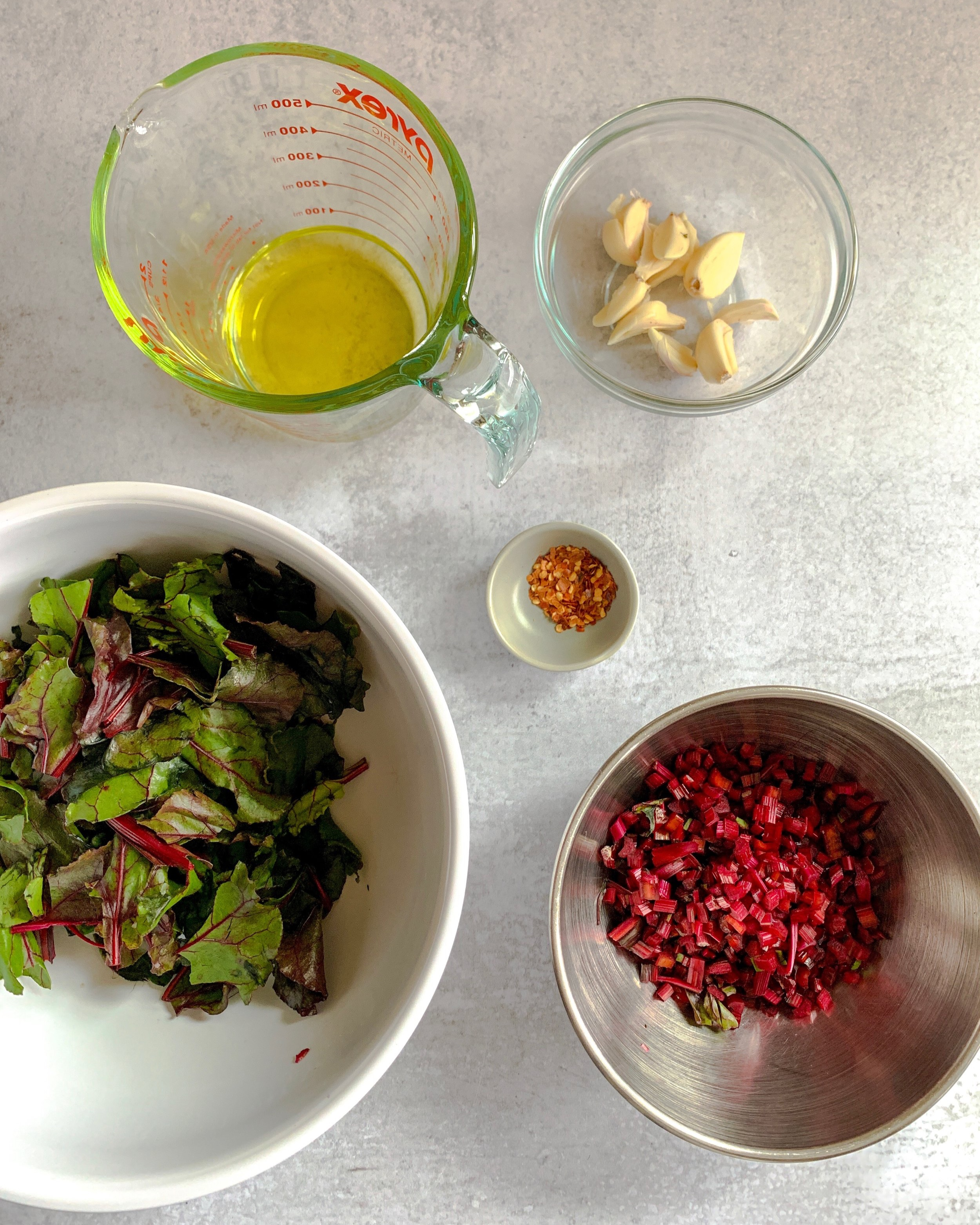Ingredients for Spicy Sautéed Greens