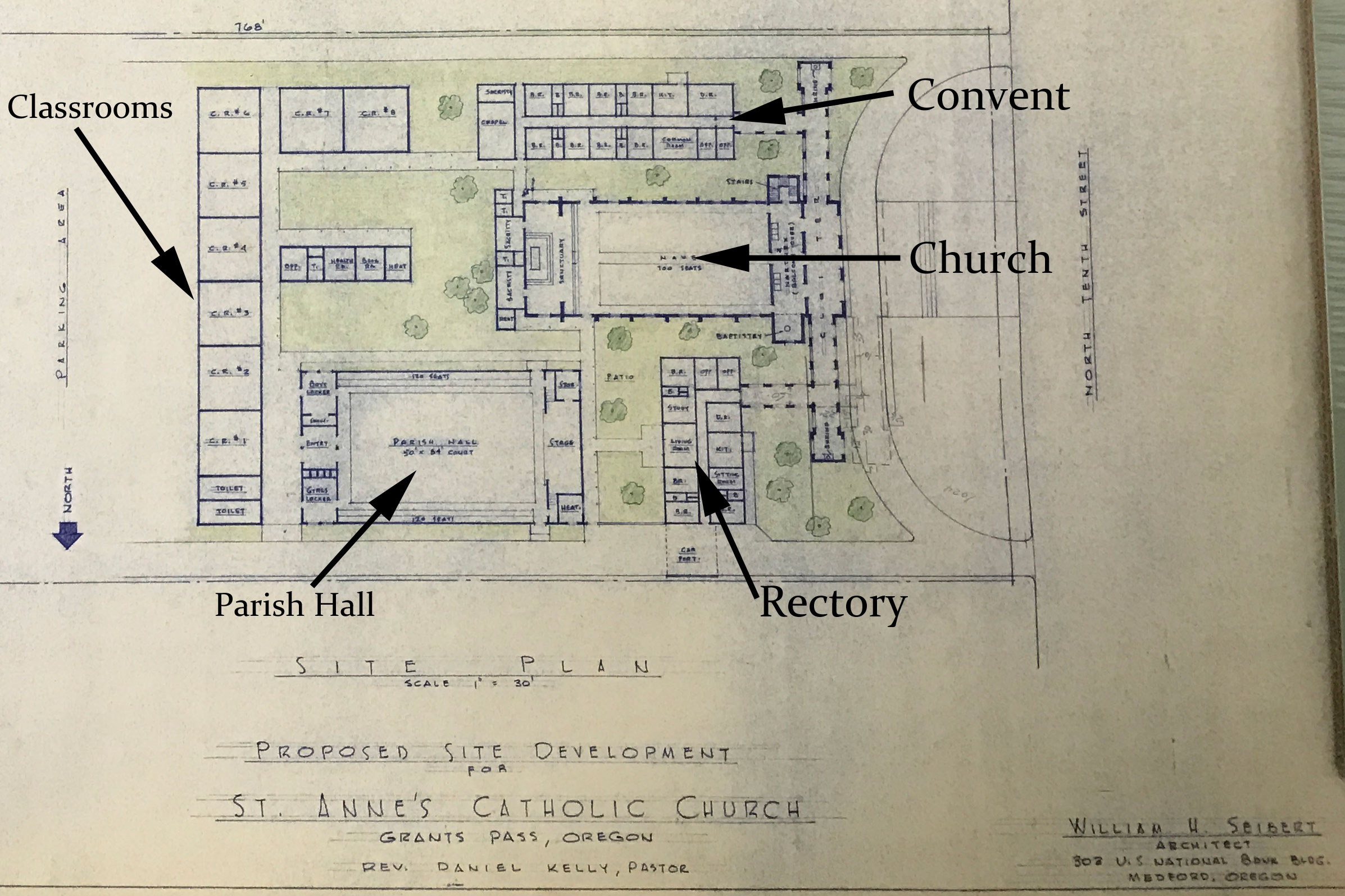 Master Plan renderings of conceptual new church, July 31, 1956