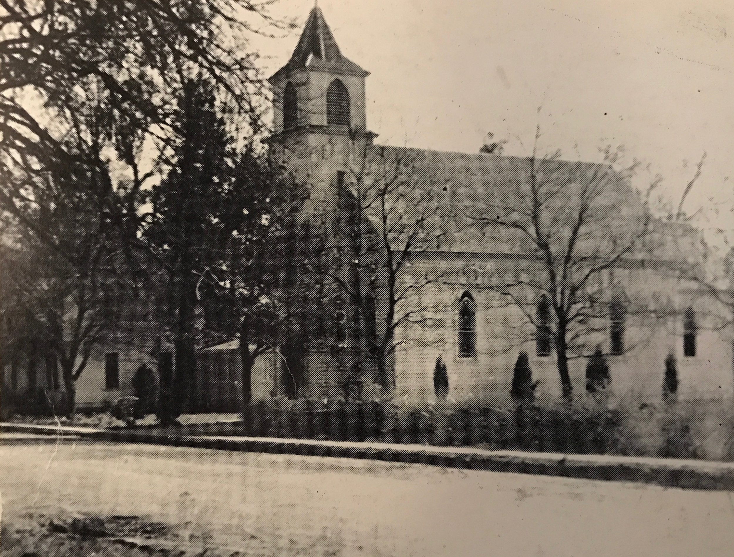 1896 Church with added bell tower. Convent on the left.
