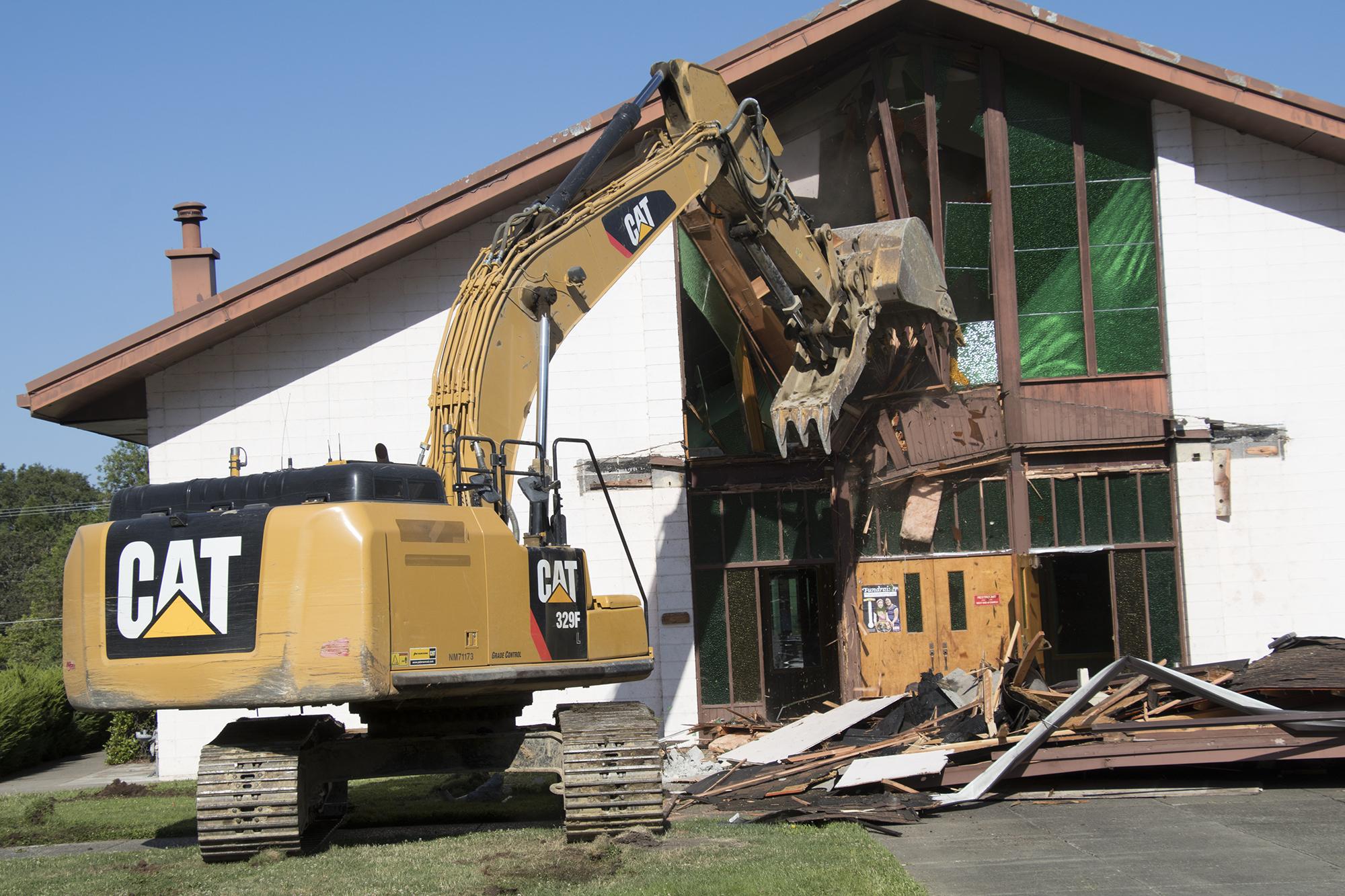 Beginning of demolition. Photo courtesy of Fr. William Holtzinger
