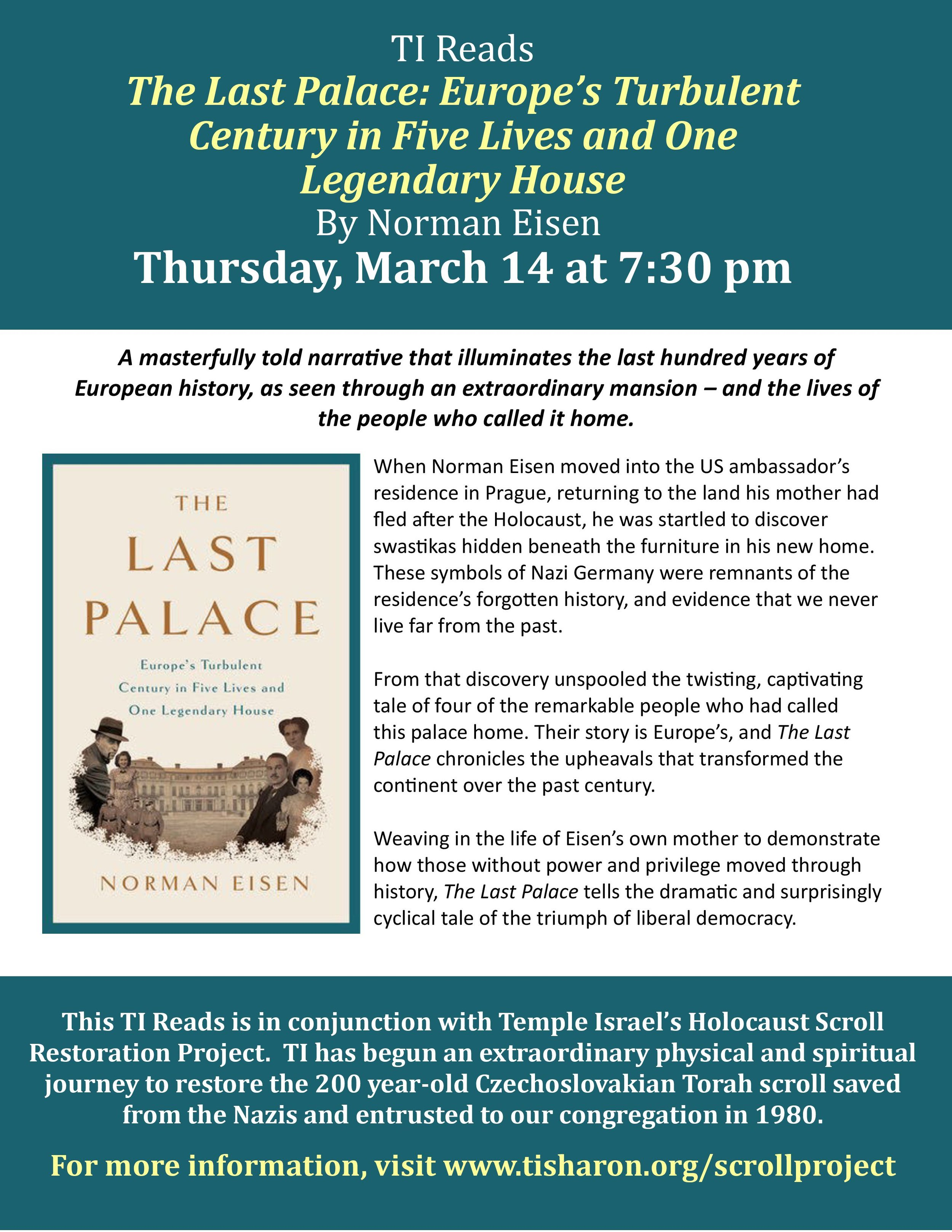 TI Reads Book Club: The Palace Thursday< March 14th Click the poster for info