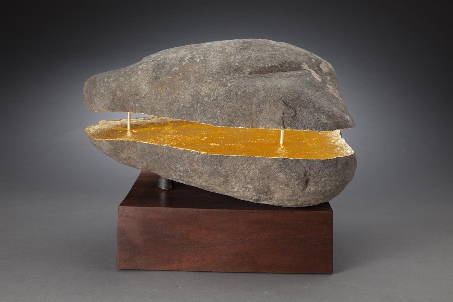 horizontal split rock-H 10in. W 12in D 10in. including base. sandstone, brass, steel, 24k gold leaf, walnut..jpg