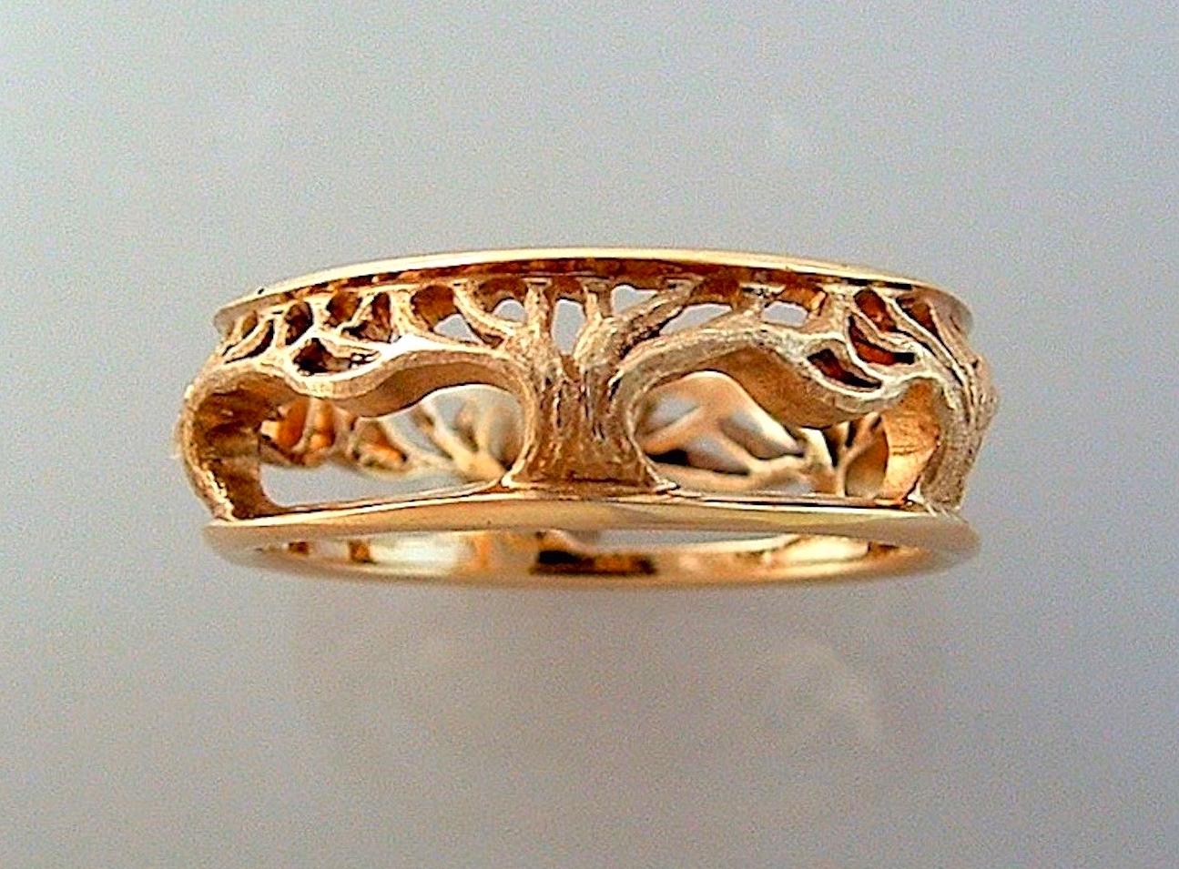 #R249  Wide Pierced and Textured Tree Band