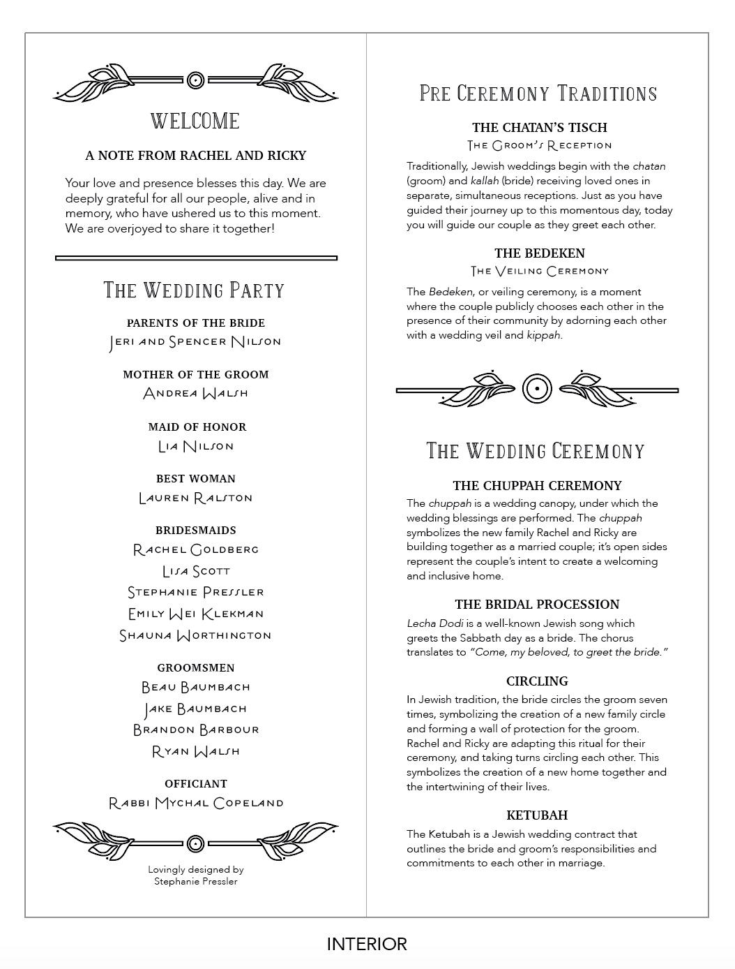 The full layout of the wedding program