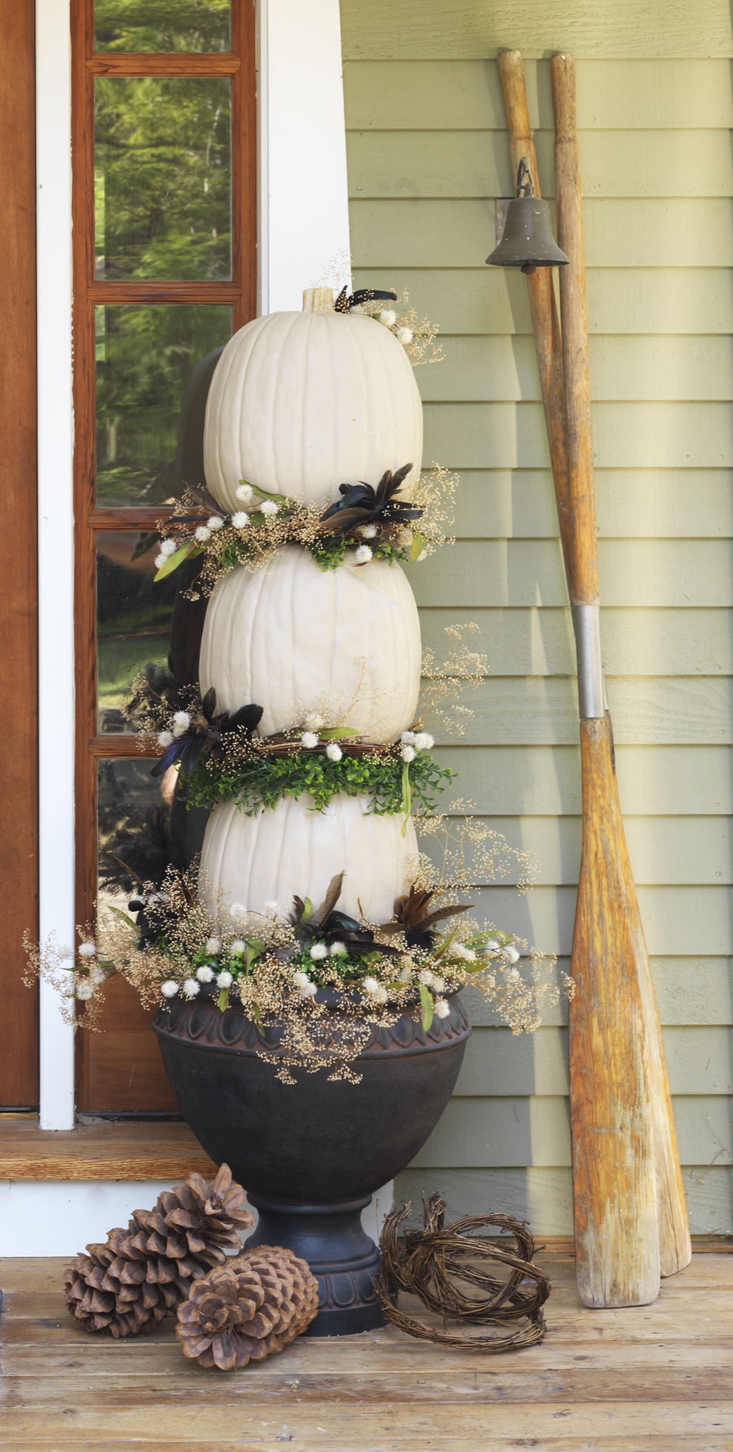This pumpkin topiary I made for DIY NETWORK does double duty-- great for the fall, Thanksgiving and Halloween. So pretty.http://www.diynetwork.com/how-to/make-and-decorate/decorating/6-ways-to-make-a-pumpkin-topiary-pictures