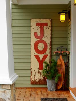 And who can forget my vintage inspired sign...Joy -- which I still put out every year! Step by Step on DIY NETWORK.