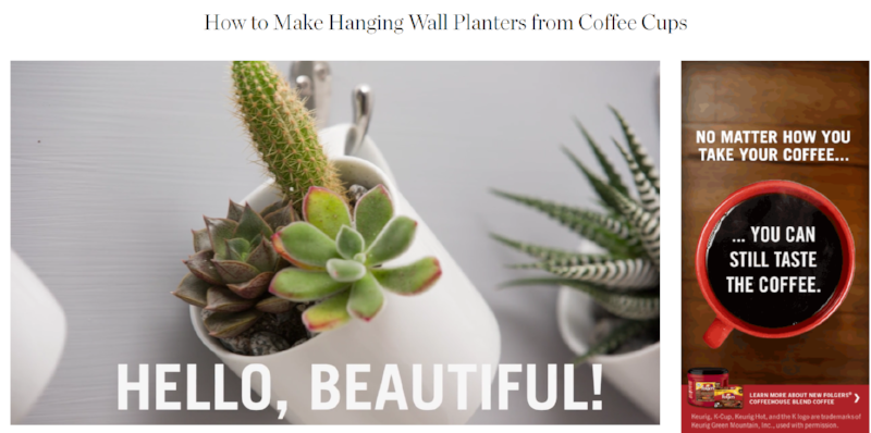 http://www.apartmenttherapy.com/how-to-make-hanging-wall-planters-from-coffee-cups-240699