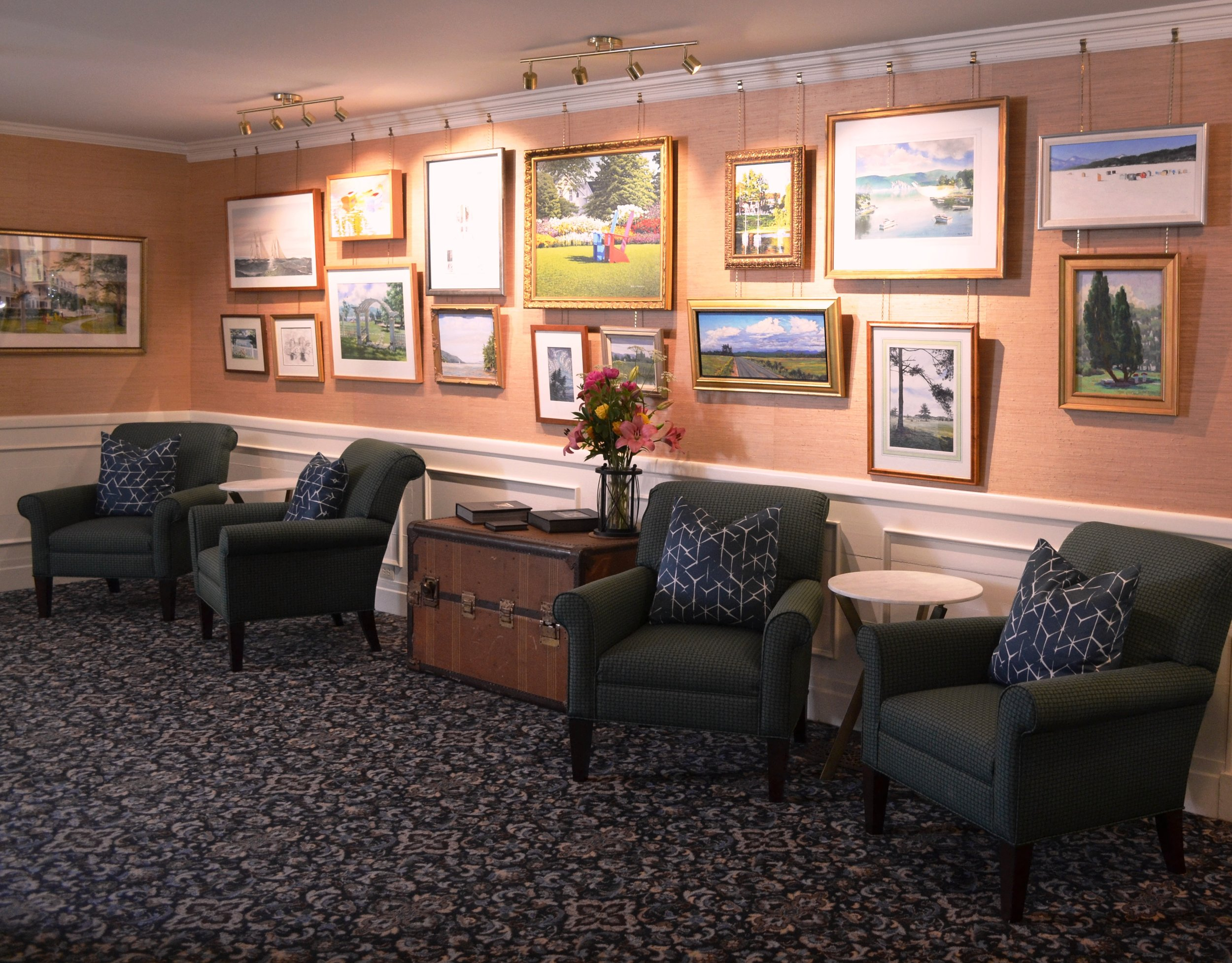 The renovated lobby, including the new art gallery wall!