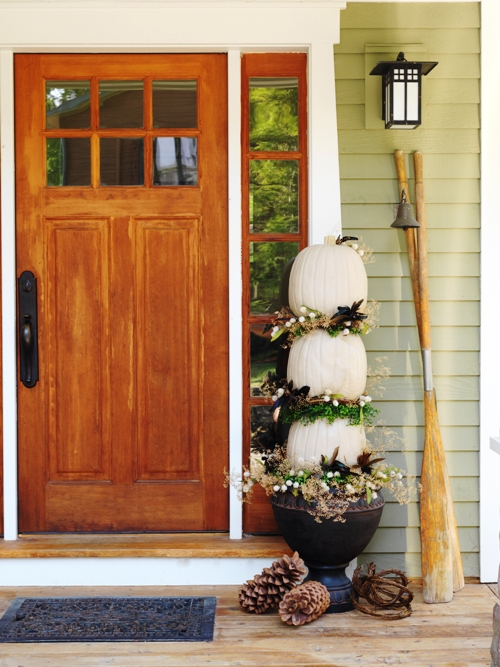 And if creepy is not your thing…how about an  elegant pumpkin fall topiary.  This front porch decor is perfect for the whole season and Thanksgiving.