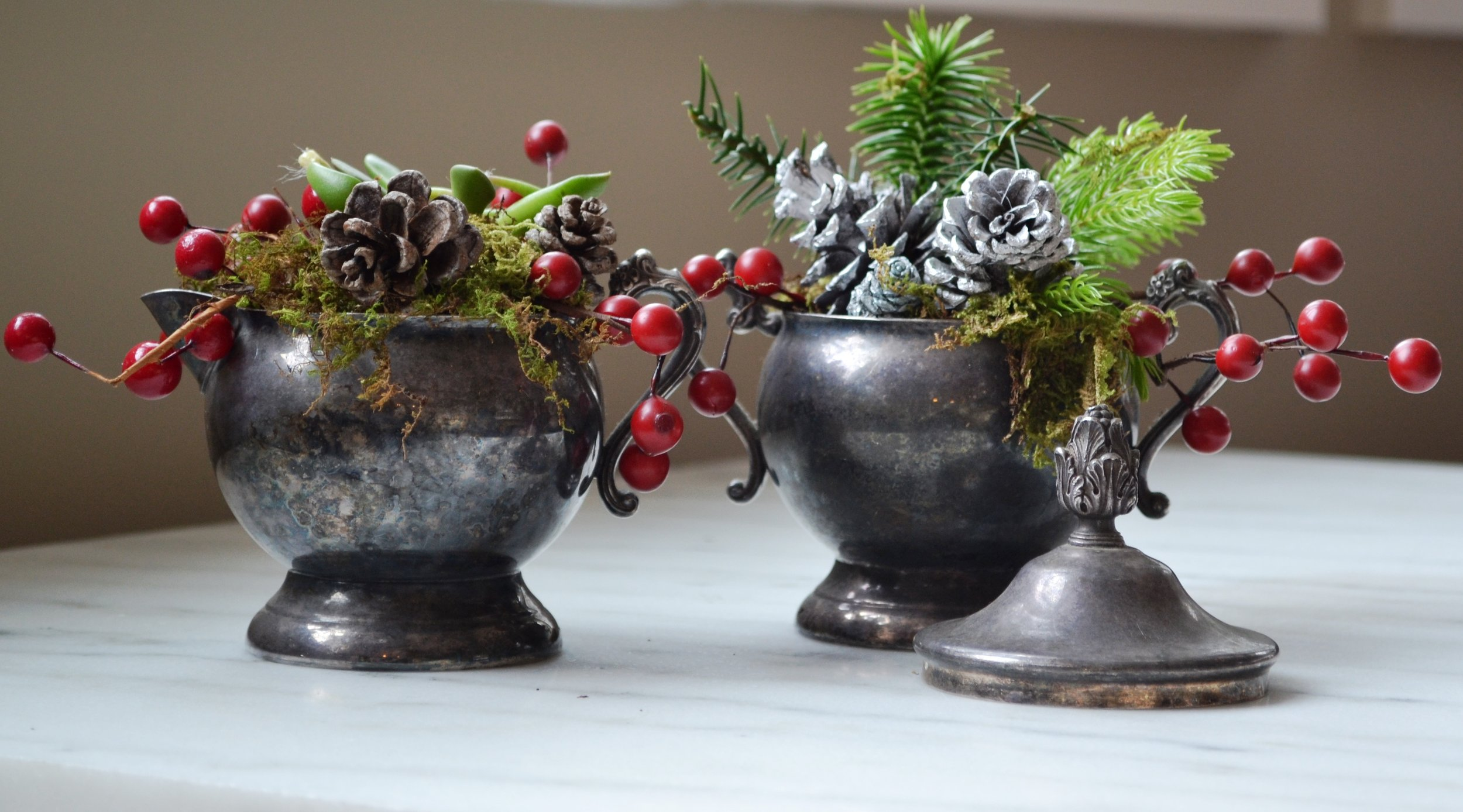 Another gallery of ideas.  DIY NETWORK 19 Rustic Easy Holiday  DIY's, like this vintage creamer and sugar set turned into mini holiday planters.
