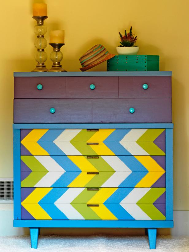 Then there is the colorful Chevron Pattern Dresser… I'm big on dresser redos :)  Here is the STEP BY STEP on DIY NETWORK.