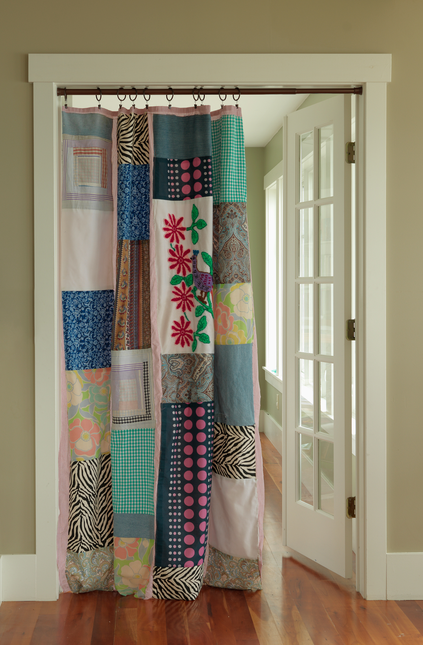 LOVED making this curtain for my book,  Salvage Secrets Design & Decor.  Can be used as a privacy curtain, shower curtain or any other fun decor spot you can think of.