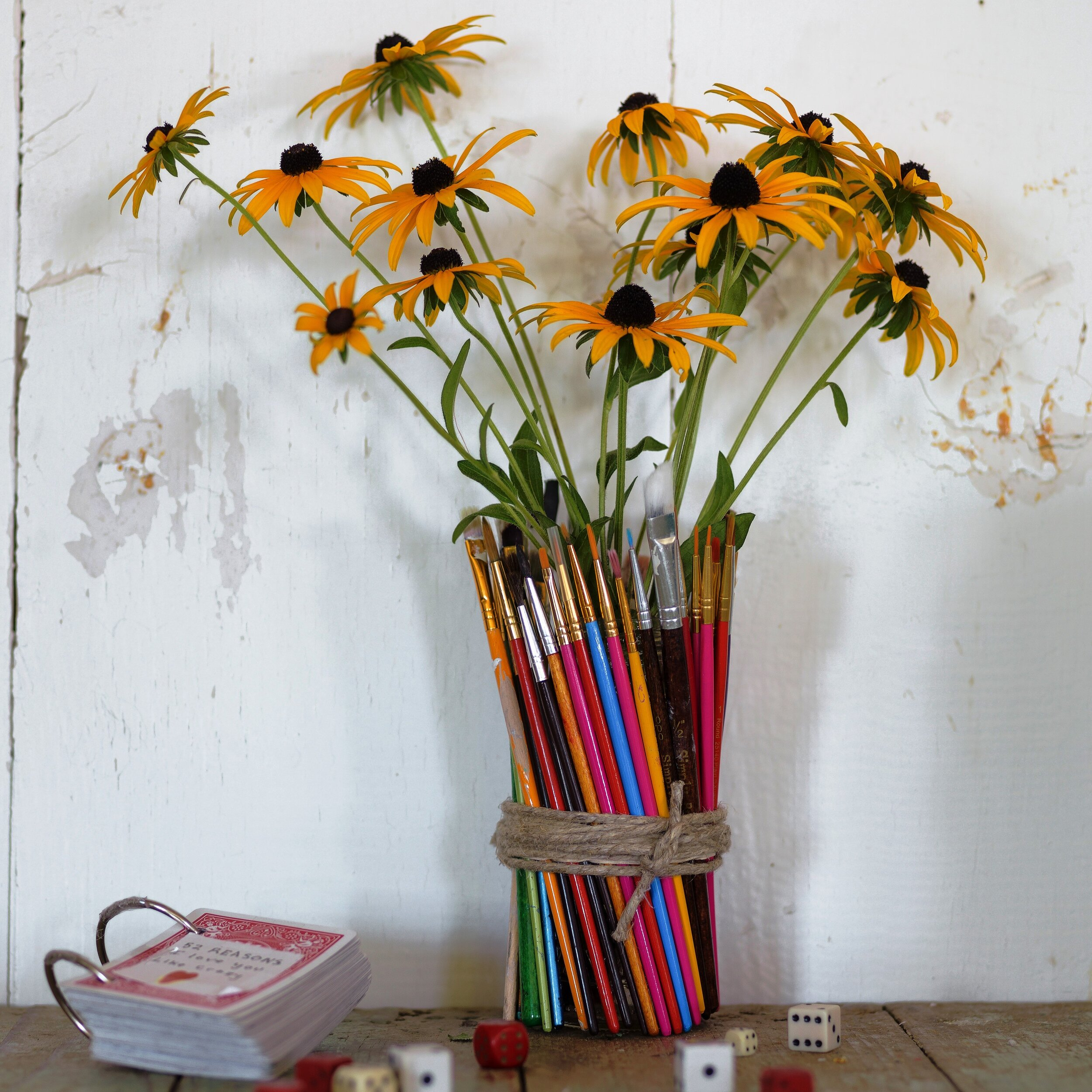 This DIY is featured in my book,  Salvage Secrets Design and Decor  (photo by  Susan Teare) . This easy to make used paintbrush vase has fabulous colors. Just wrap them around a recycled jar and add some twine. The perfect fall gift.