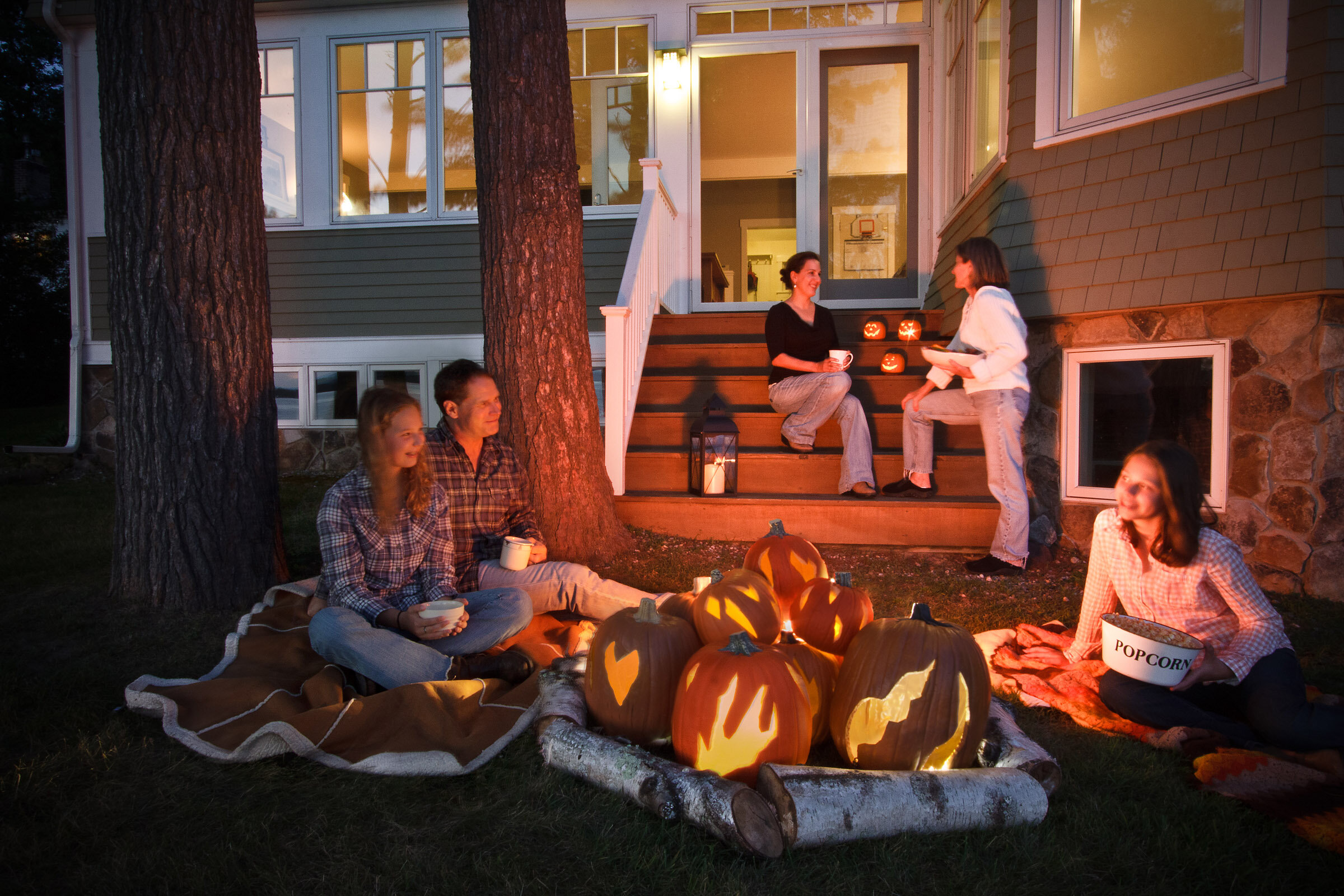 Crazy fun project for DIY NETWORK. The  faux pumpkin, fake fire,fire-pit —say that five times fast!