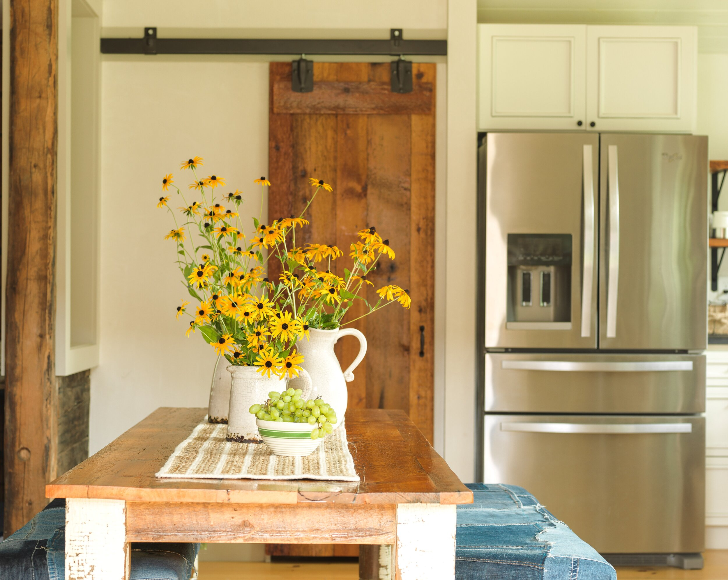 A renovated storage space turned into a modern farmhouse kitchen. Fall decor was a must. This whole kitchen is in my latest book.