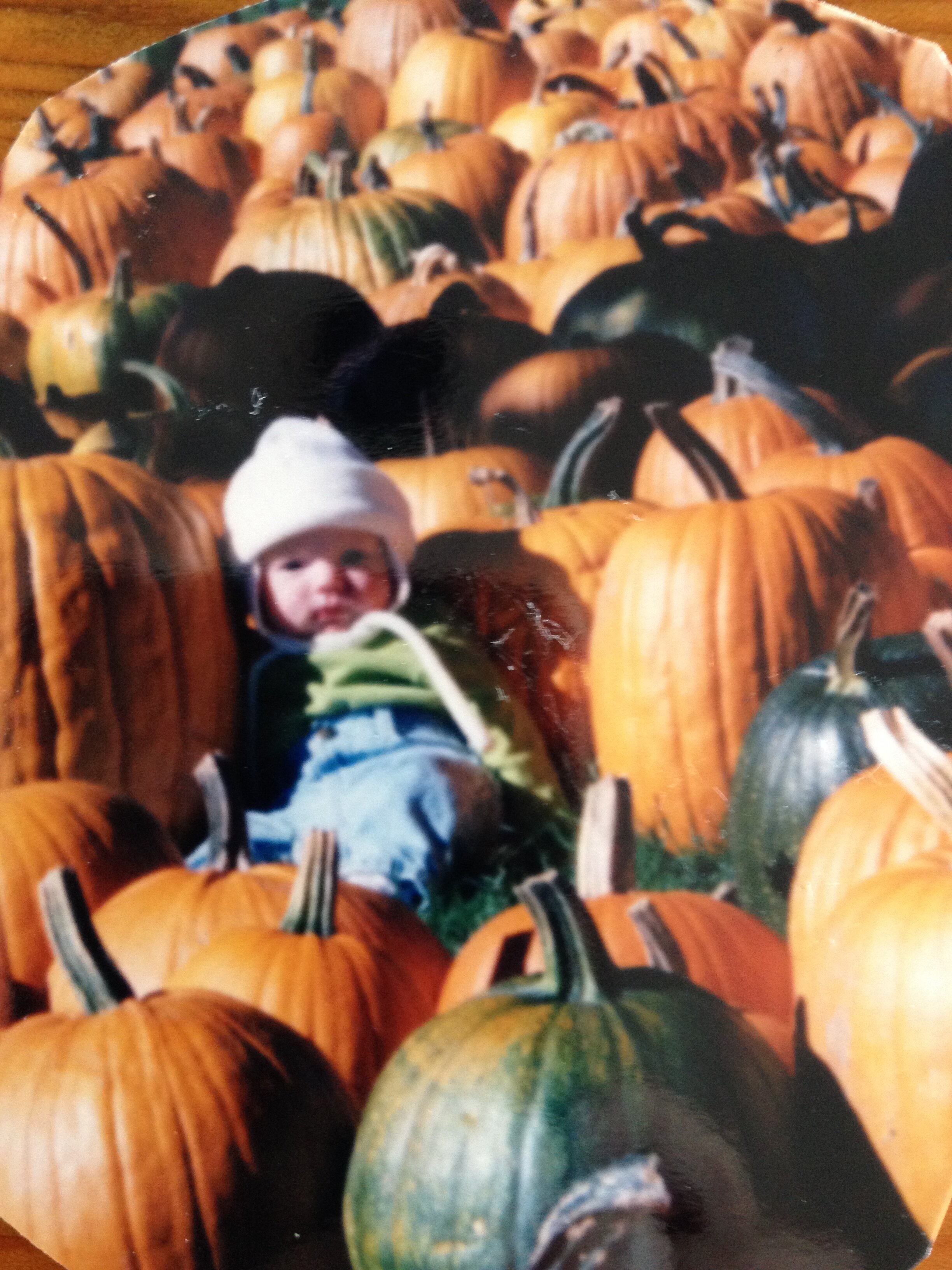 Till Gabrielle was about 16 years old we took a picture of her in a pumpkin patch. Here is her first one.