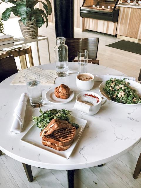 Chicken Panini, Monkey bread, quinoa salad