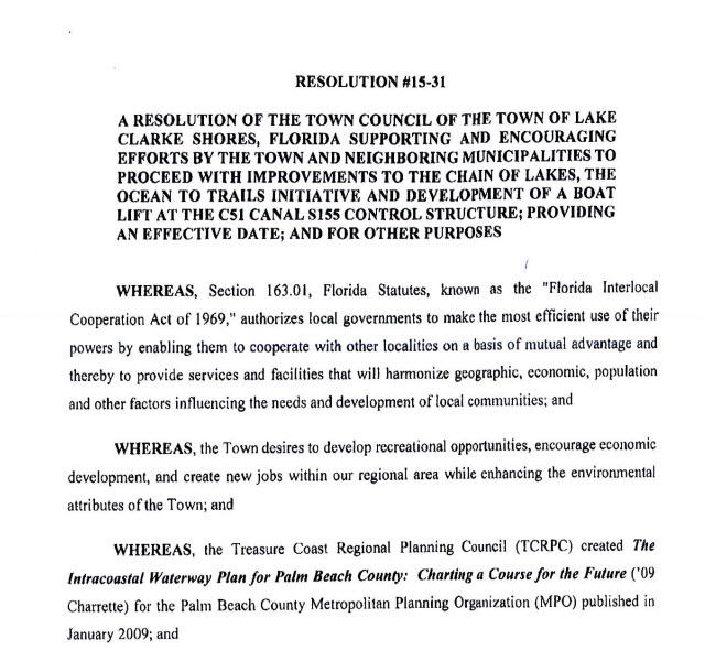 Lake Clarke Shores Resolution 15-31 (PDF)
