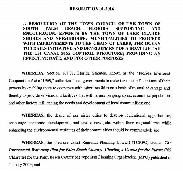 South Palm Beach Resolution 01-2016 (PDF)