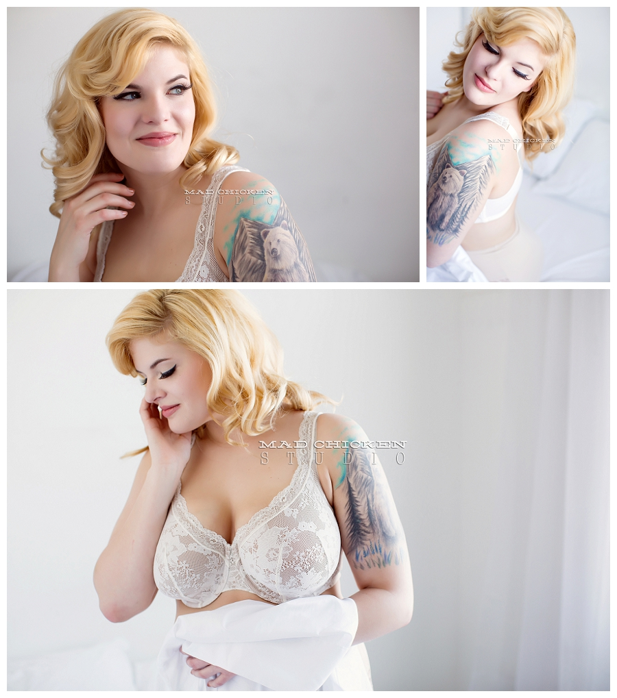 curvy marilyn monroe inspired boudoir session at mad chicken studio in duluth, mn