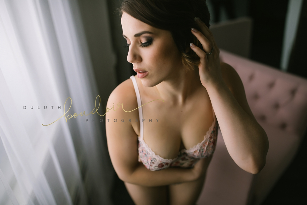 Ari wearing Victoria's Secret for her boudoir photography session in Duluth, MN