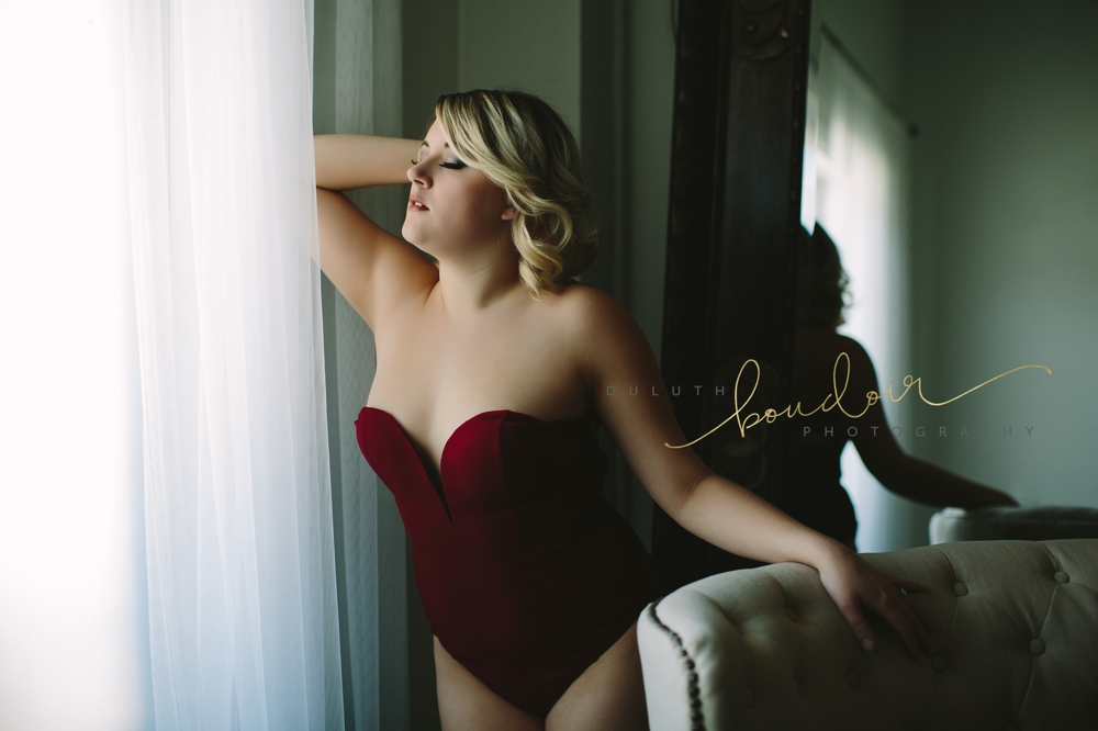 Black bodysuit lingerie from Adore Me for boudoir photography session in Duluth, MN