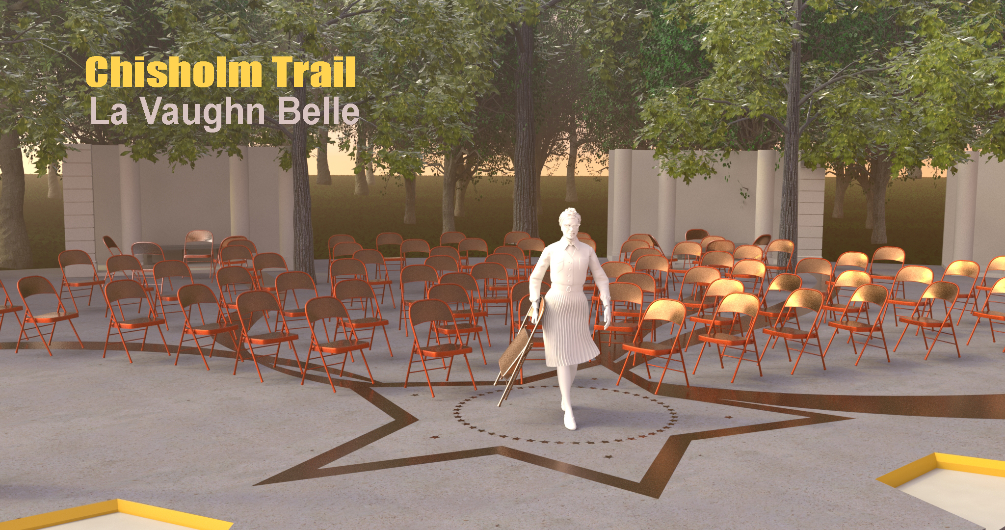 "This proposal reinterprets Shirley Chisholm's famous quote, ""If they don't give you a seat at the table bring a folding chair"" and positions it into a larger framework of mobility. This monument invites visitors to not only think about Chisholm's personal journey from childhood to elderhood, but also the movement of a people and a nation. For what her historic run for the presidency challenges most is our imaginary of what is possible. Wearing a turban and an eagle pin, she steps boldy into a reenvisioned version of the presidential seal. She challenges us to think about how this petite black woman with a Bajan accent marking her immigrant roots, could represent the promise of the United States both literally and symbolically and how her trail -to use her campaign slogan- could ""bring  U.S.  together""."