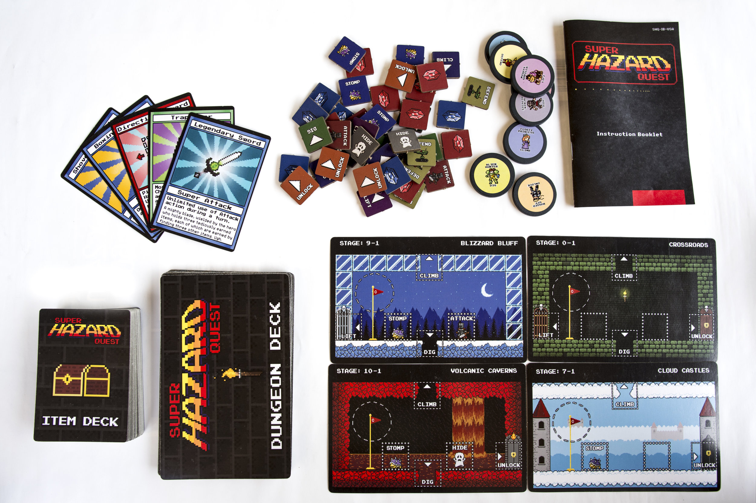GAME INCLUDES:  54 Item Cards 26 Dungeon Cards 1 Instructional Cards 8 Character Tokens 16 Crystal Shards 1 Instructional Manual