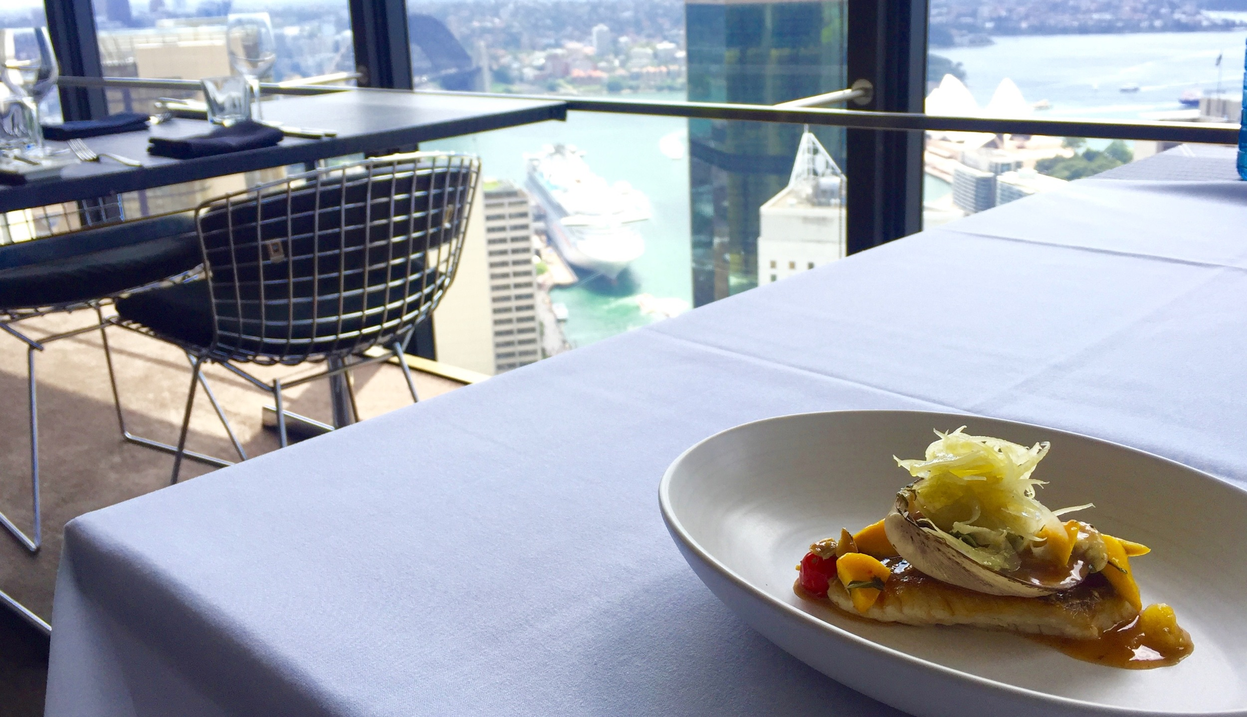 PINK SNAPPER, SMOKED STORM CLAMS, WARM TOMATO ESCHABECHE, SAFFFRON, CHILLI, RED VEIN SORREL WITH THE VIEW.